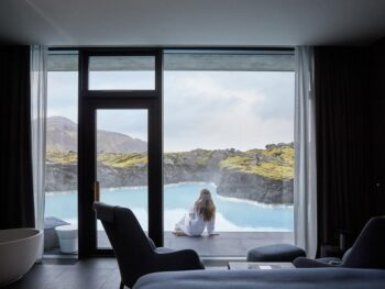 Photo of guest room at the Retreat at Blue Lagoon located in Iceland. One of the unique luxury hotels in Iceland surrounded by a lagoon.