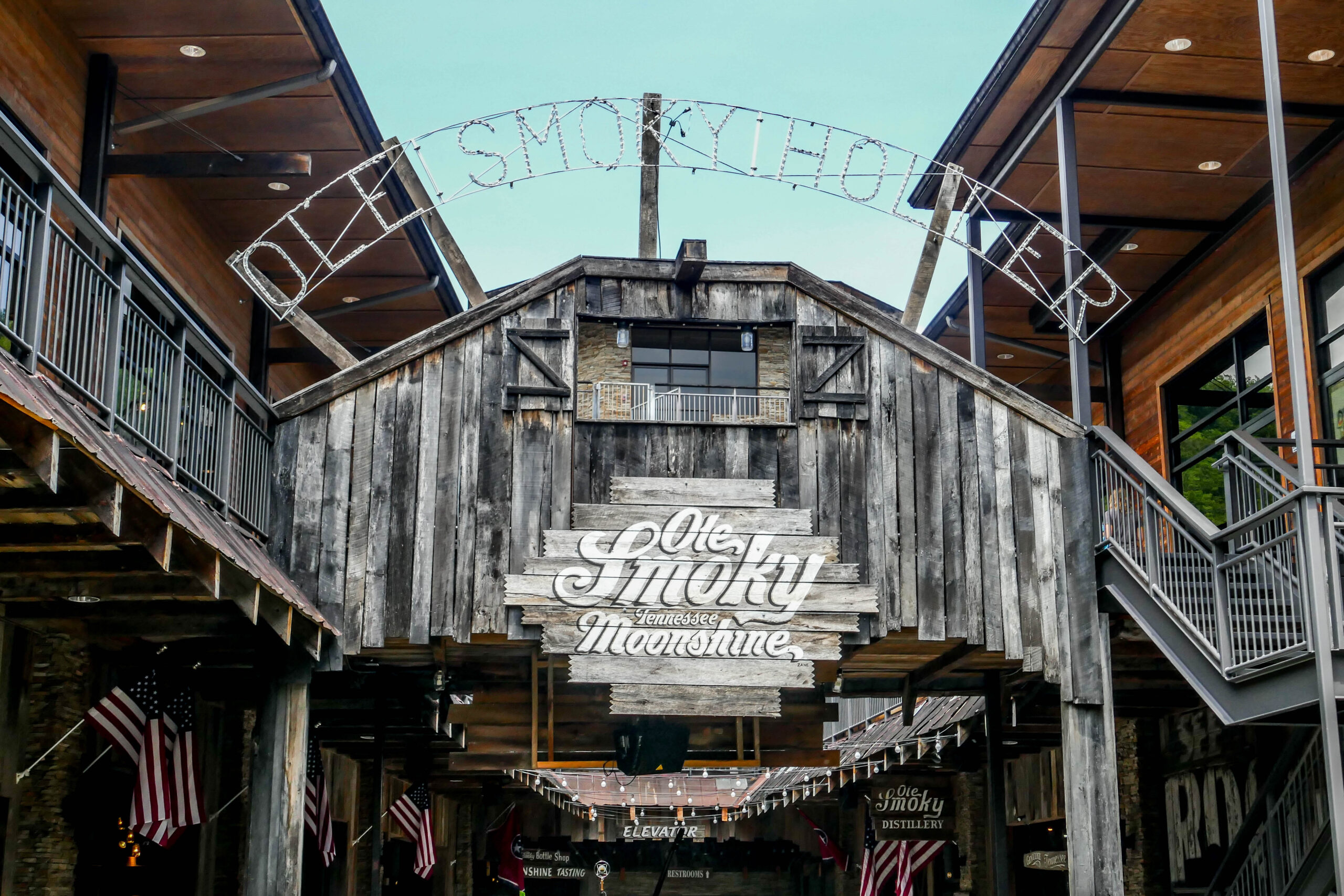Photo of the Ole Smoky Moonshine Distillery main entrance.
