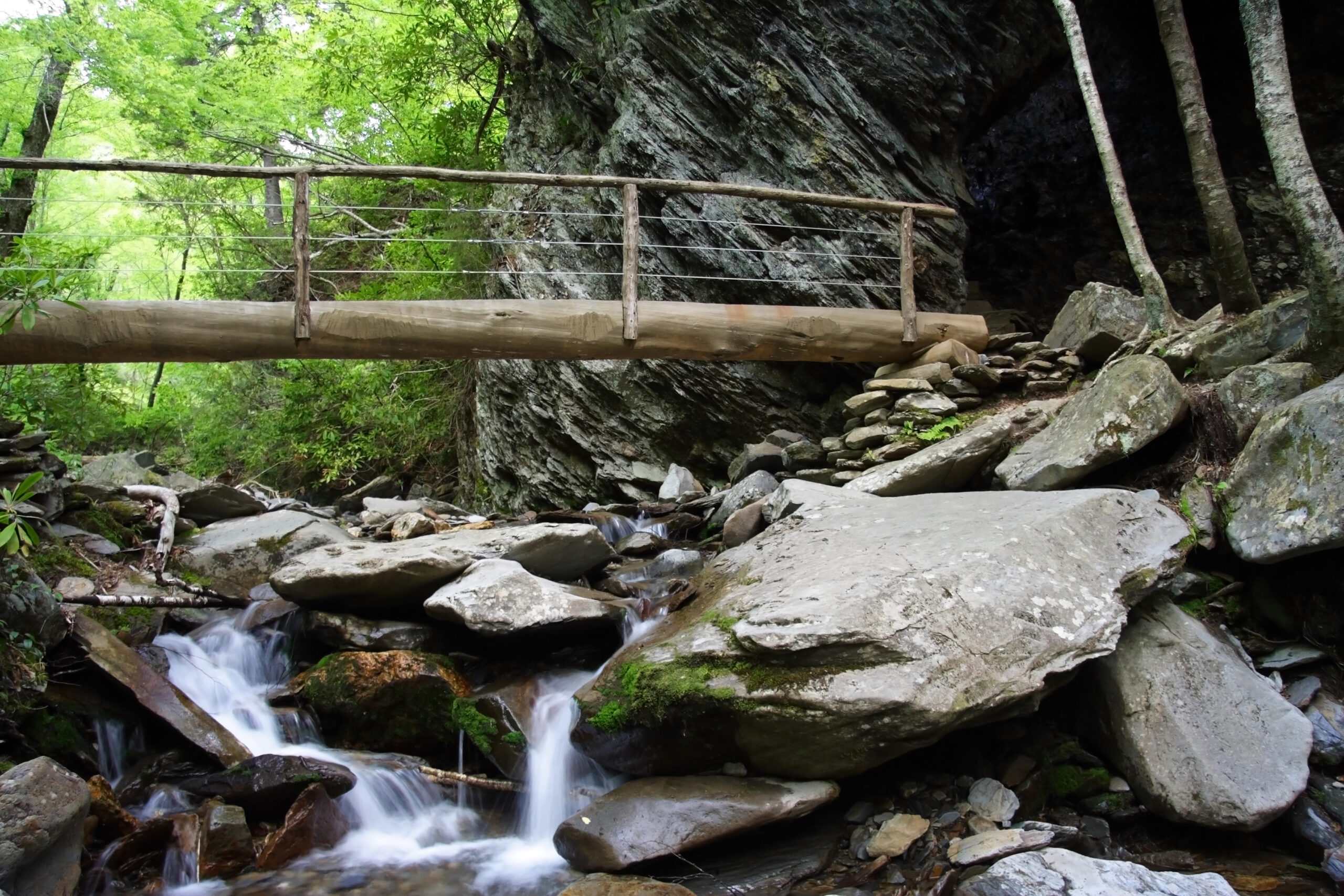 Photo of a bridge going over a stream in the Smoky Mountain National Park