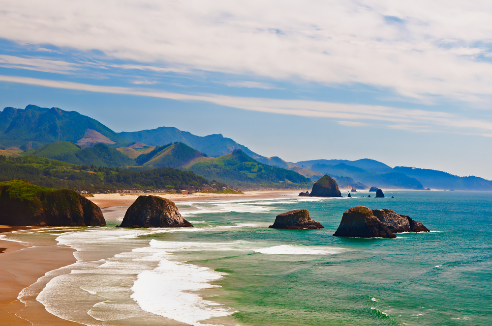 Cannon Beach on the Oregon coast on one of the best road trips in the USA