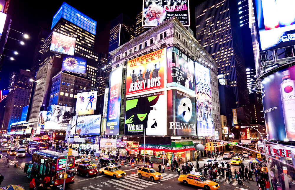 Times Square in New York City on one of the best road trips in the USA