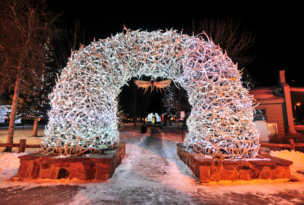 light up antler arch in Jackson Hole
