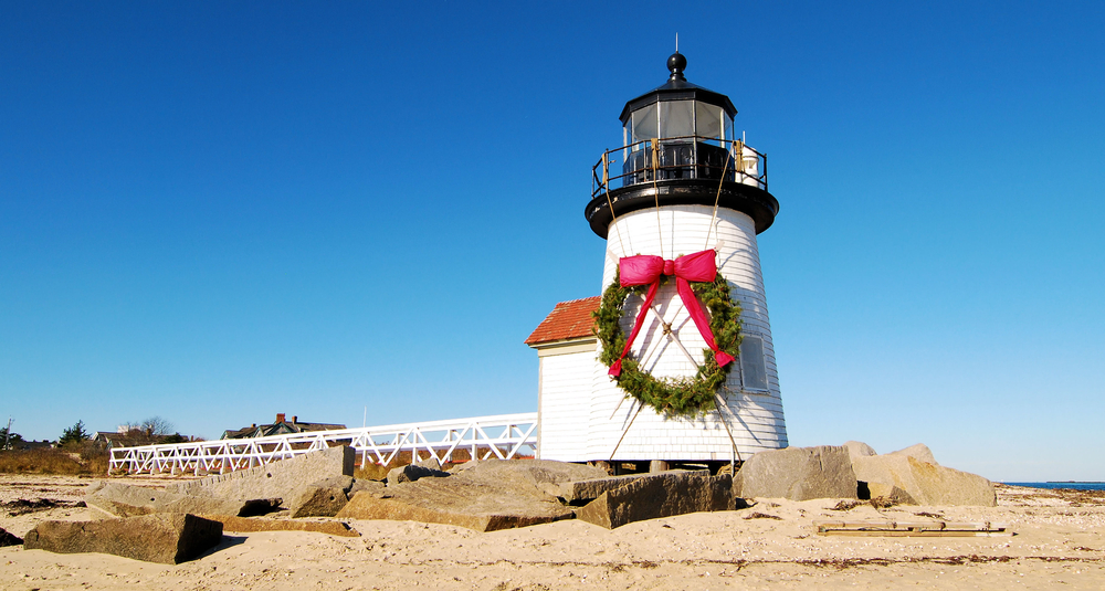 Brant Point Lighthouse decorated for Christmas