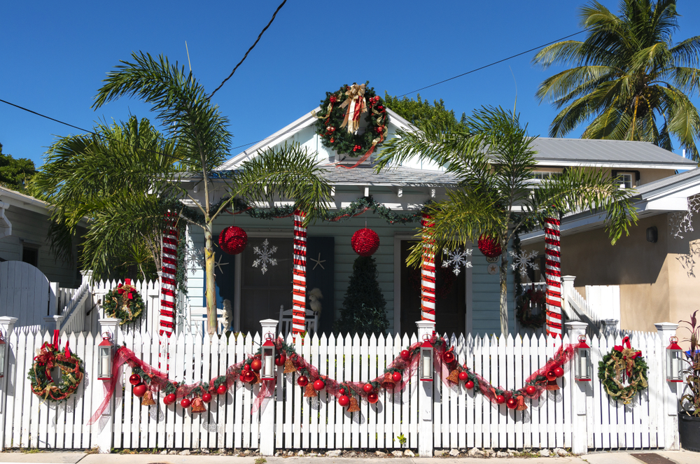 a house in key west decorated for Christmas
