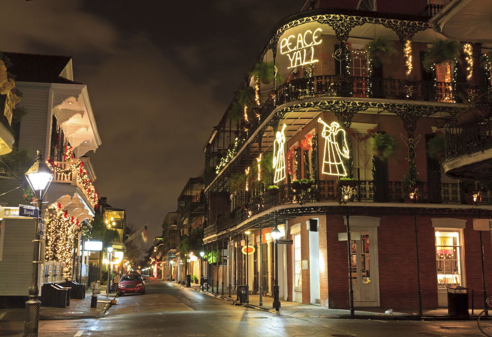 A street in New Orleans with Christmas lights