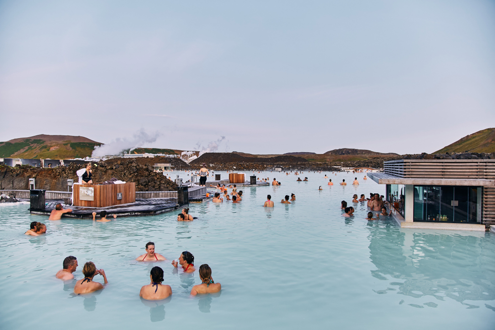 relaxing in the Blue Lagoon in Iceland in August