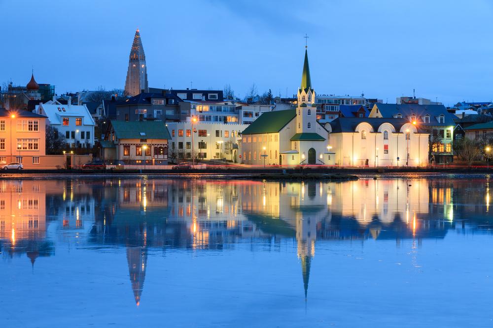 downtown Reykjavik in Iceland in August