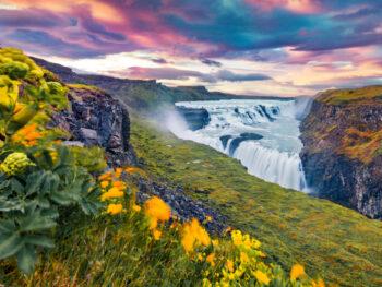 Gullfoss waterfall in Iceland in August