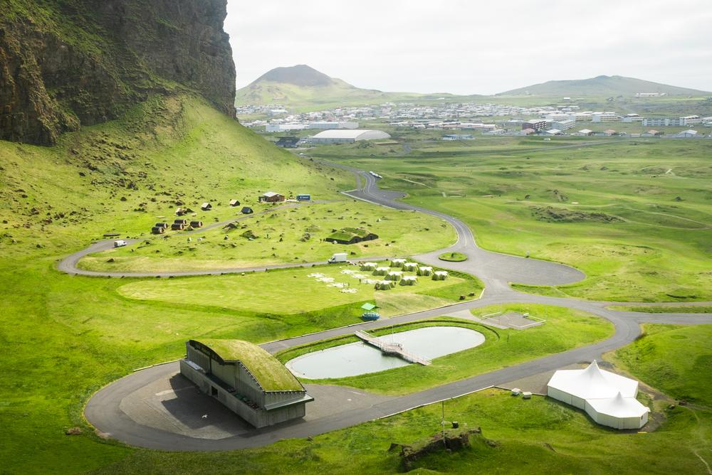 Vestmannaeyjar festival campground in Iceland in August