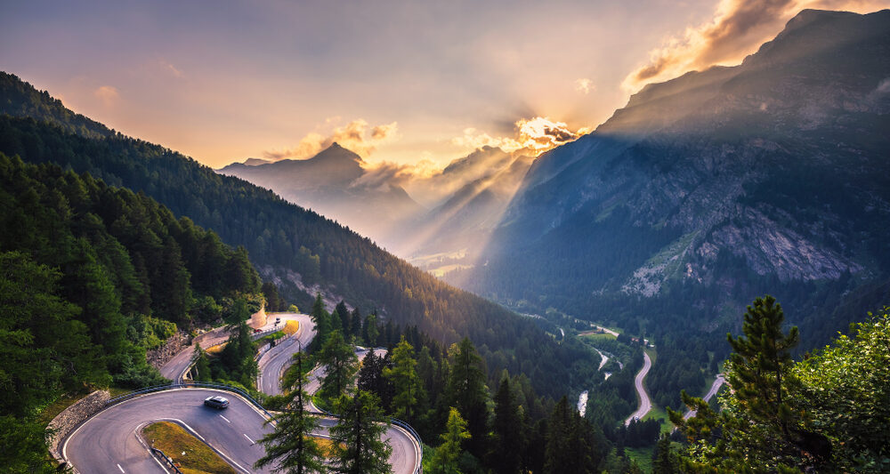 Maloja Pass as you drive through Switzerland on the best European road trip