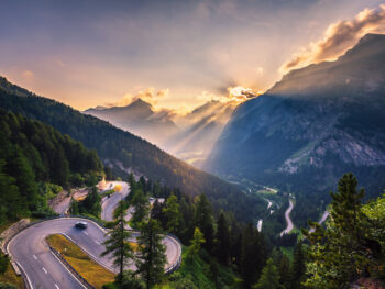 Maloja Pass as you drive through Switzerland on the best European road trip