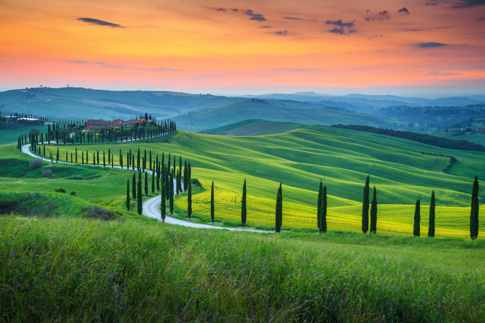 sunset in Tuscany on the best European road trip