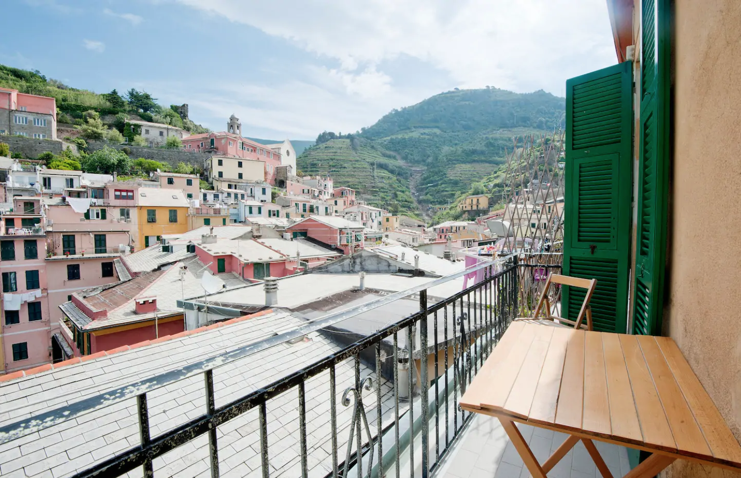 this airbnb comes with sea views, views of the town, and a balcony