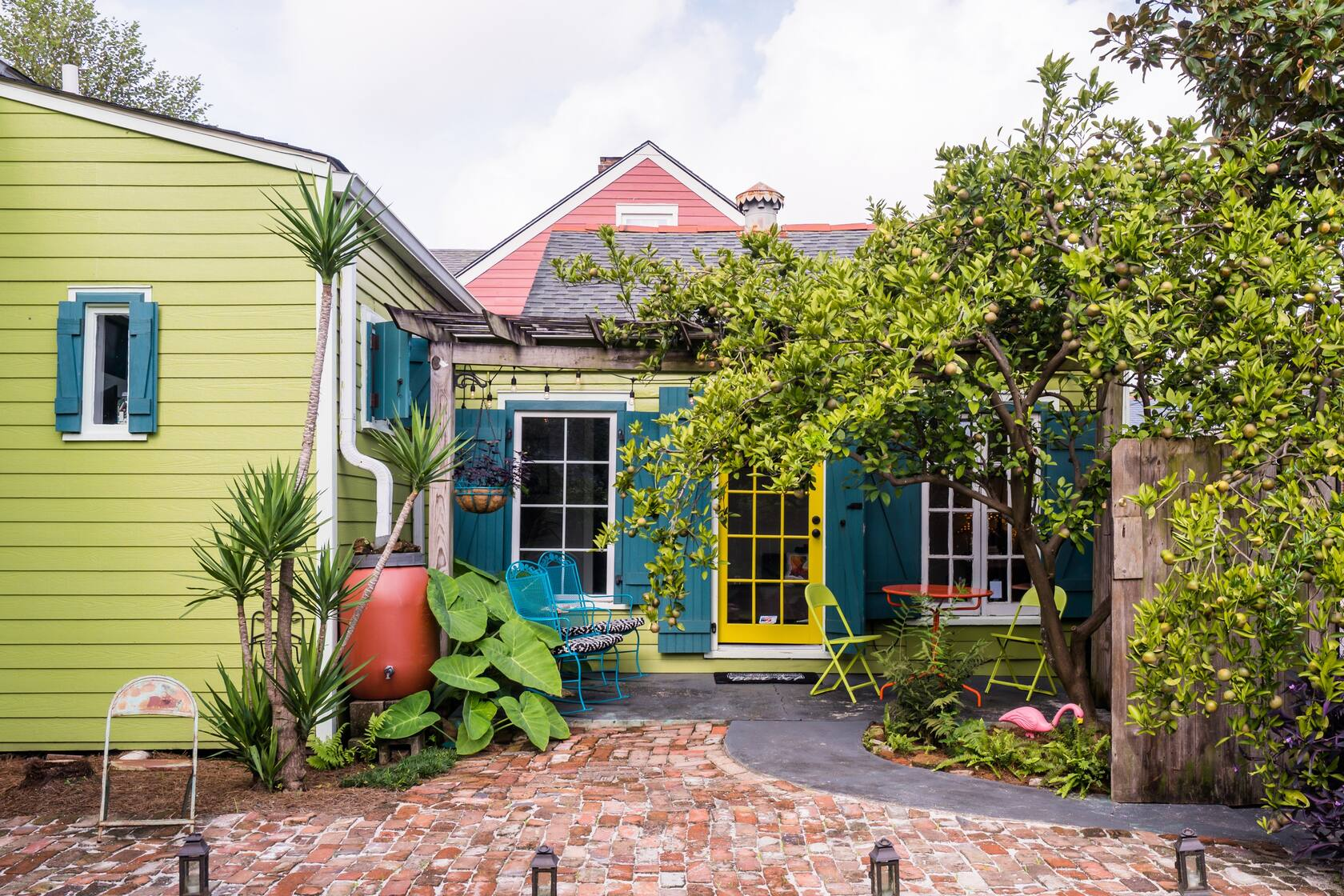 Photo of a colorful Creole Style Cottage Airbnb in New Orleans.