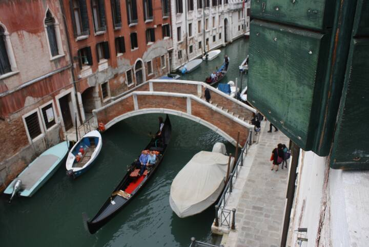 This Airbnb has great views of the grand canal in Venice