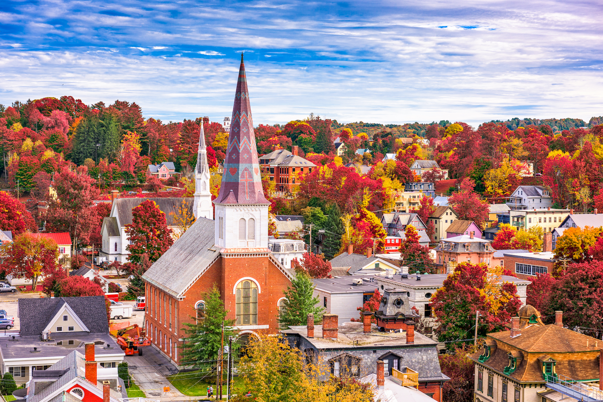 aerial view of red roofed buildings and trees with fall leaves