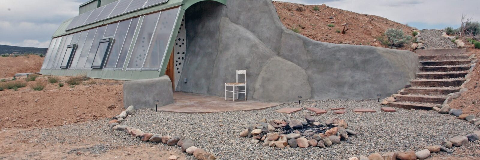 a brand new studio Earthship Airbnb in New Mexico