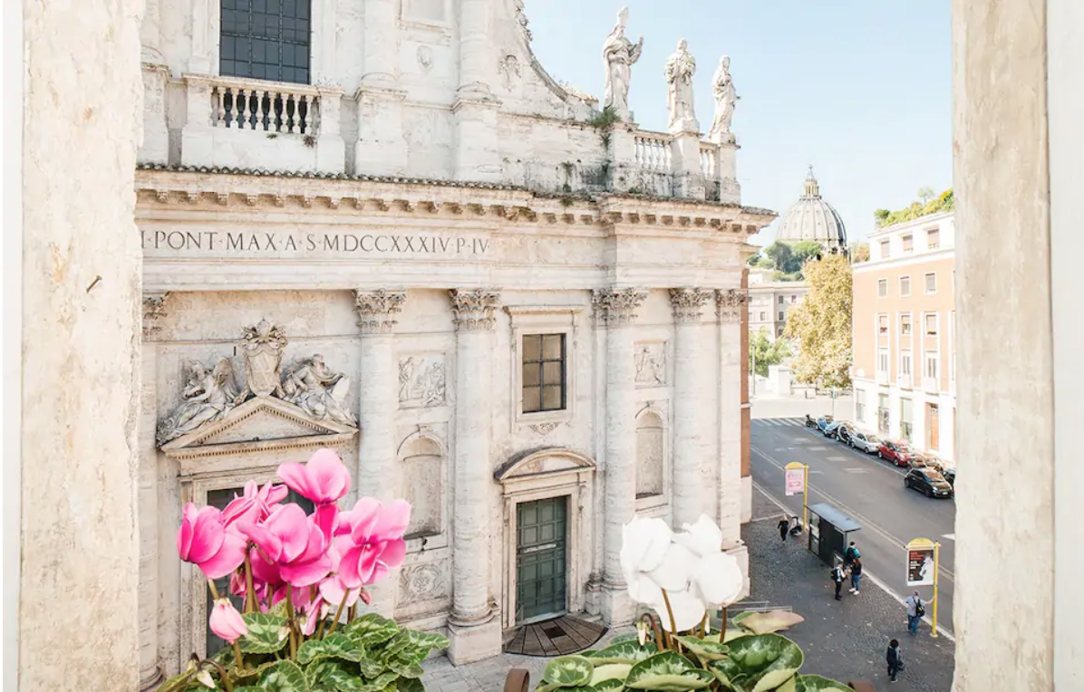 this airbnb in rome is located inside the 1400 building