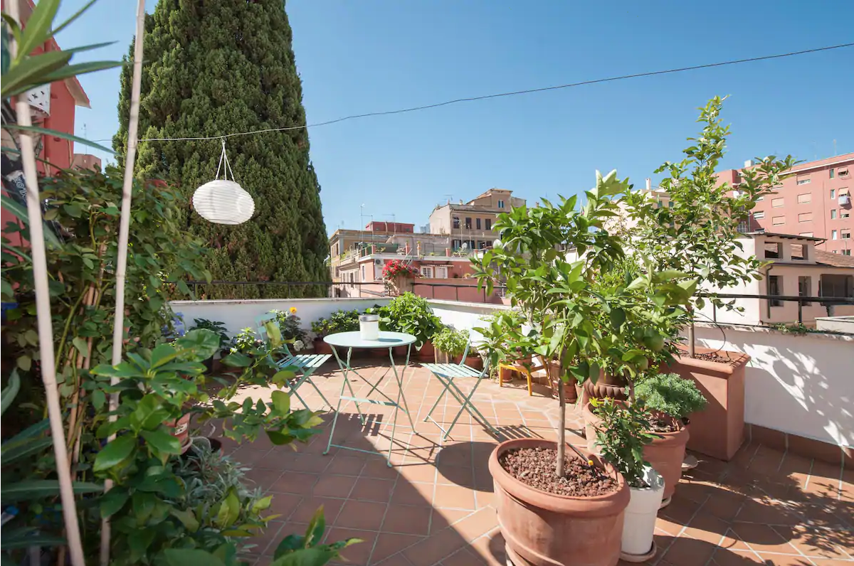 a quiet and cosy terrance at an airbnb in rome