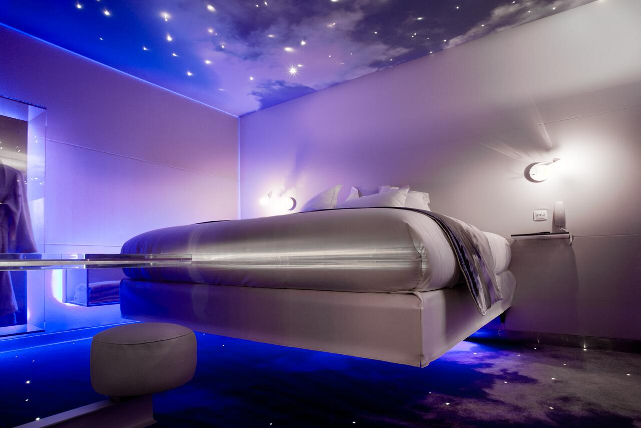 Five Boutique Hotel is one of the more unusual hotels in paris, having floating beds and some galaxy themed rooms!
