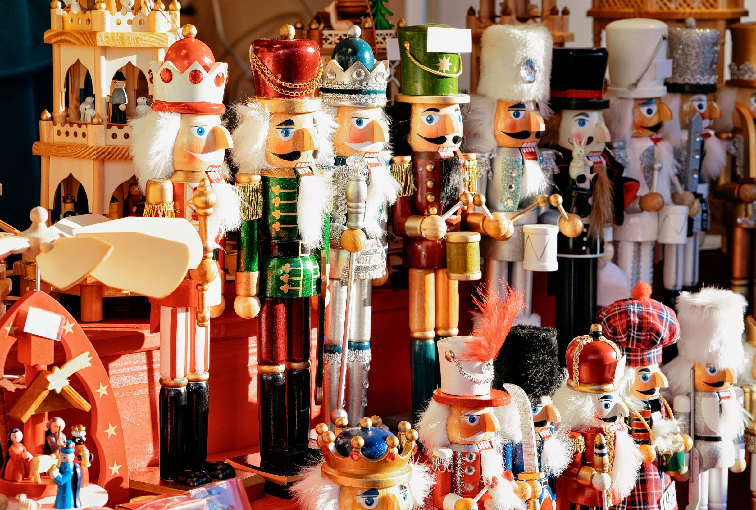 Photo of colorful Christmas nutcrackers being sold at one of the Christmas markets in the USA.