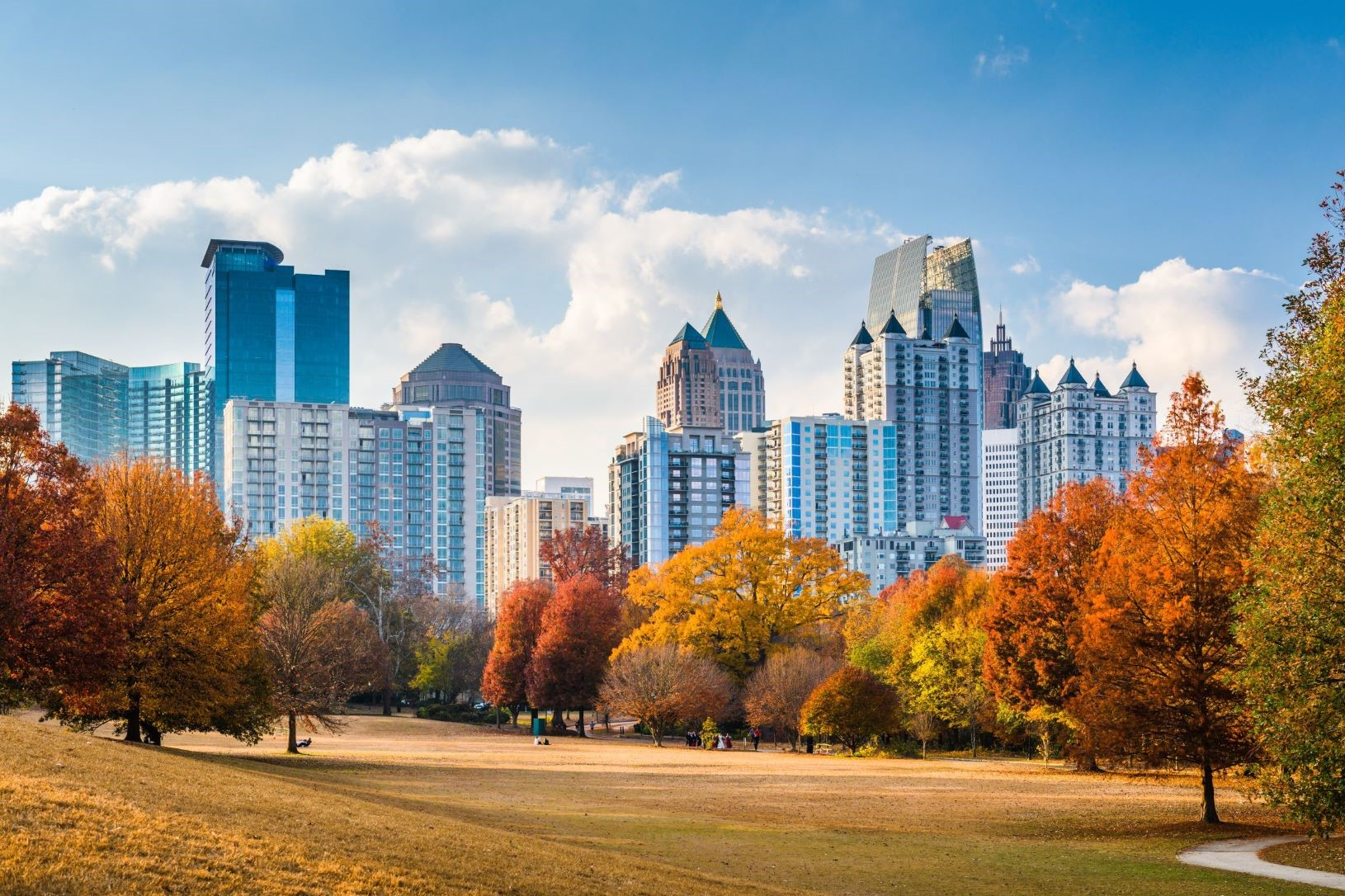Photo of Piedmont Park and the Mid Town Skyline in Atlanta Georgia.