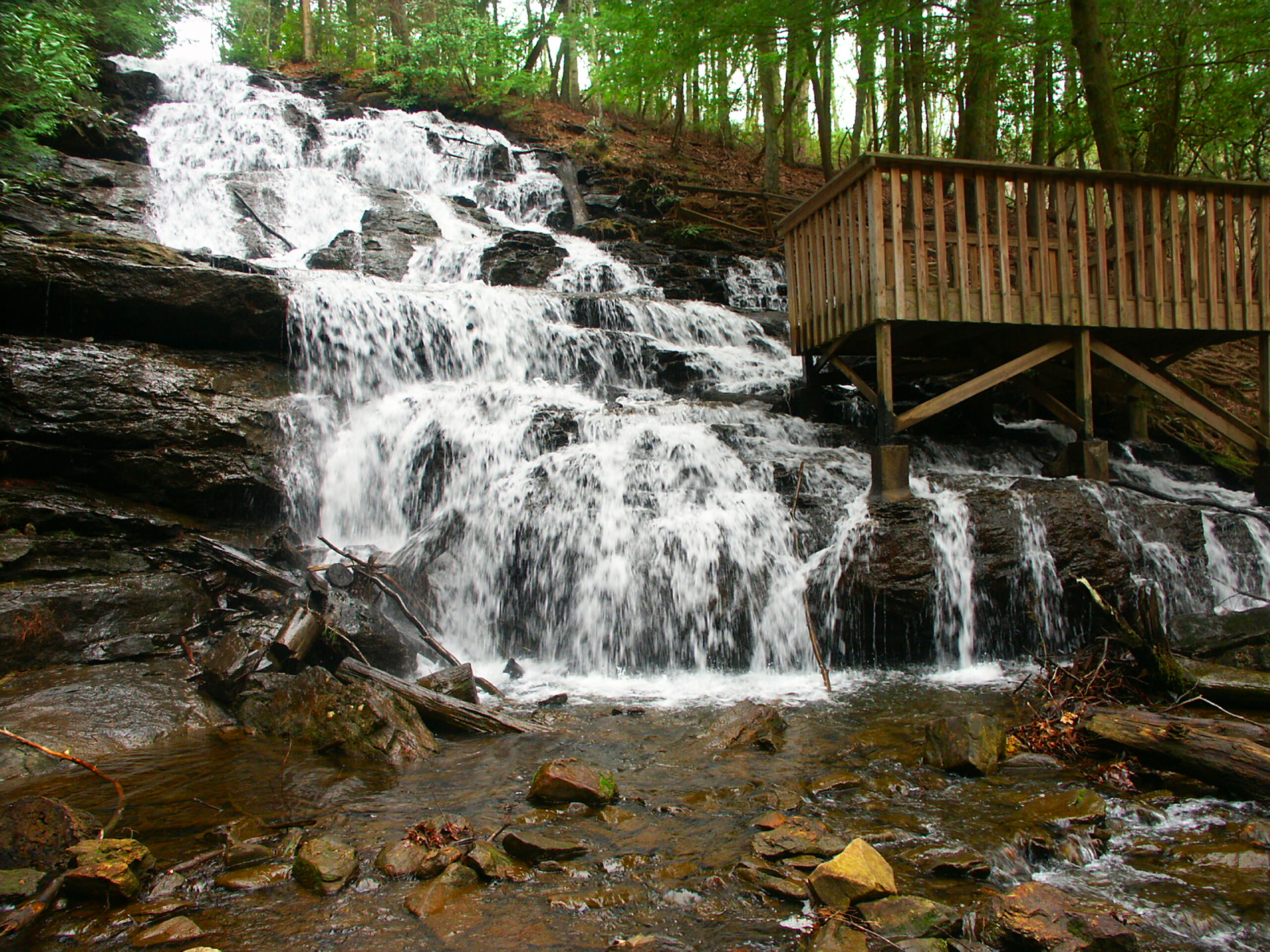 Photo of a beautiful cascading waterfall at Vogel State Park in Georgia.