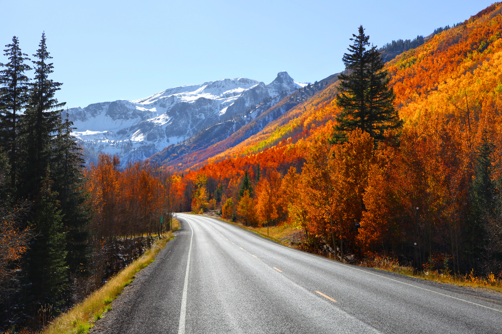 road lined with fiery orange and red leaves with mountain ahead fall in the USA