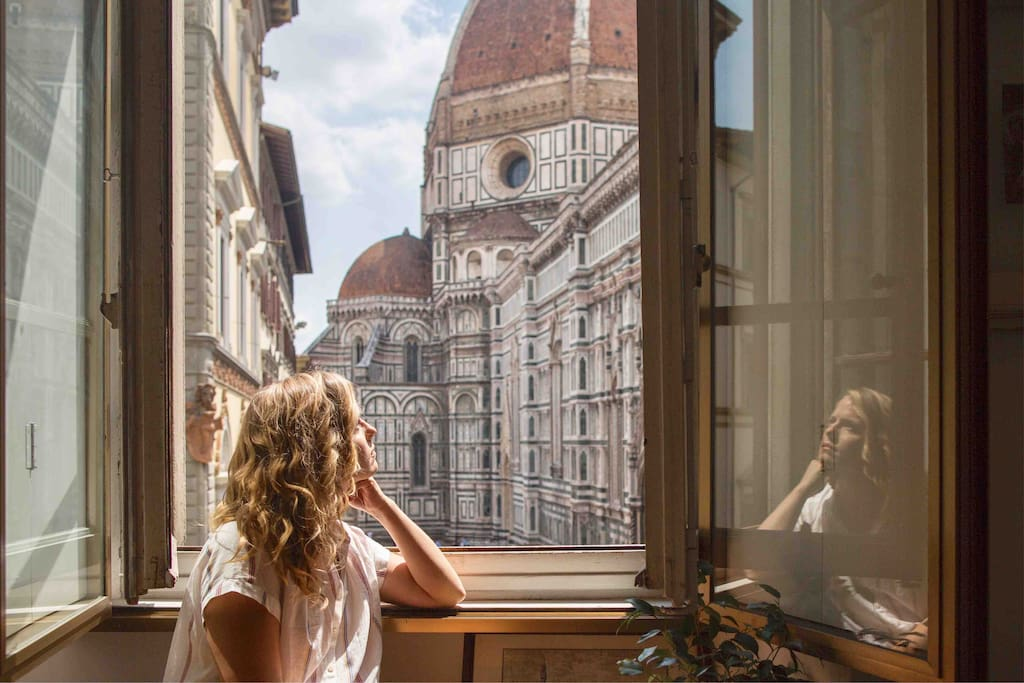 This artists retreat in the center of Florence features what may be the city's best window to the Duomo!