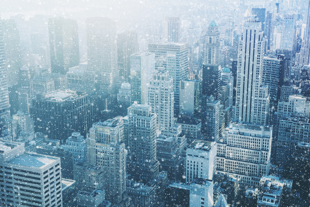 aerial view of snow falling in New York in winter