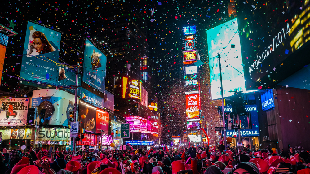 midnight in Times Square on New Year's Eve