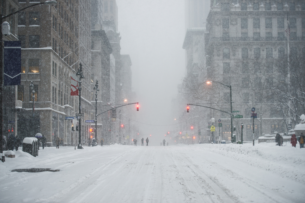 snow-filled streets of New York in winter