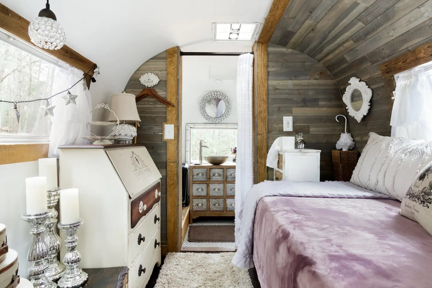 Photo of the Queen Bee Boutique Airstream which is a North Carolina Airbnb.