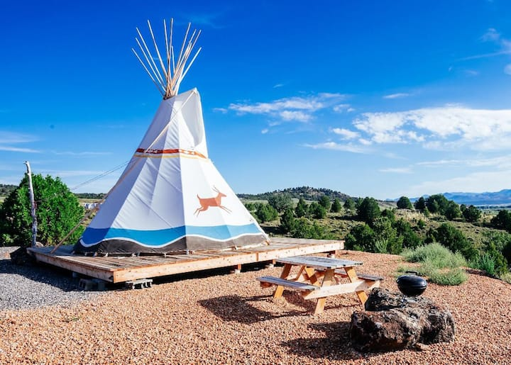 This tipi in Utah is a unique camping experience for USA airbnb lovers