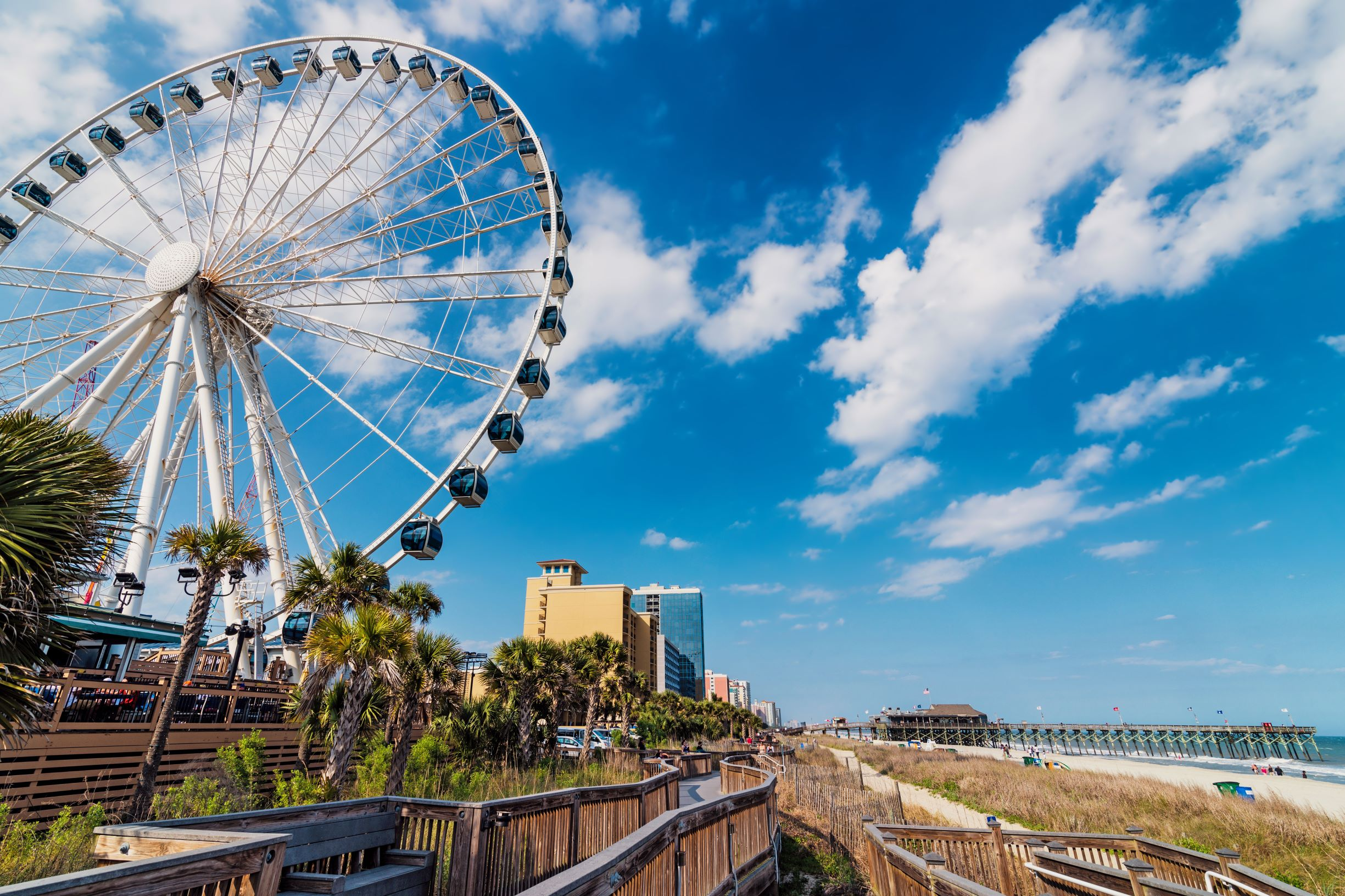 Phpto of Myrtle Beach that includes the Skywheel and the beach.