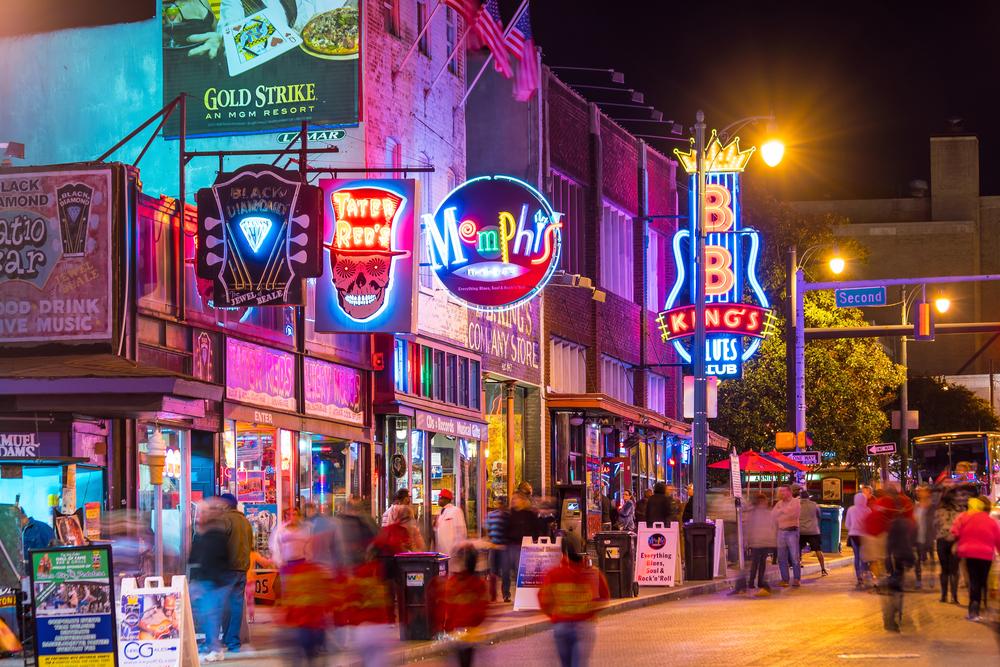 street bustling with nightlife in Nashville weekend getaways in Tennessee