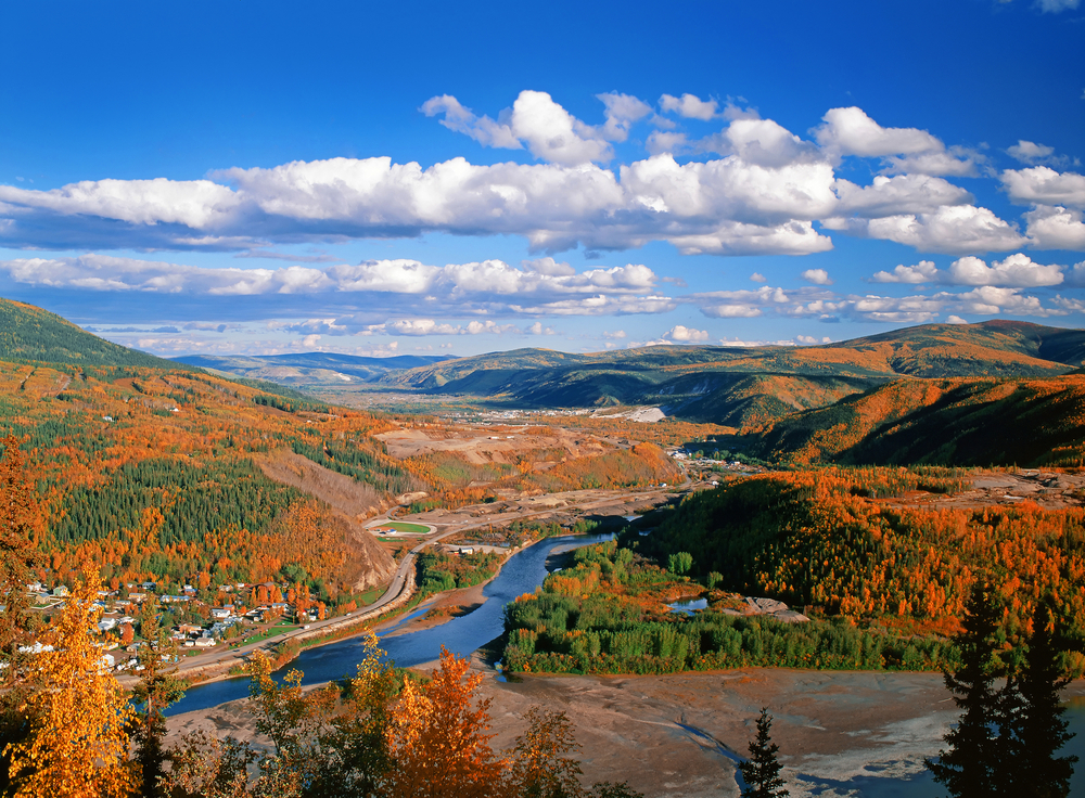 Dawson City itself is surround by amazing views to see fall in canada in all of its glory