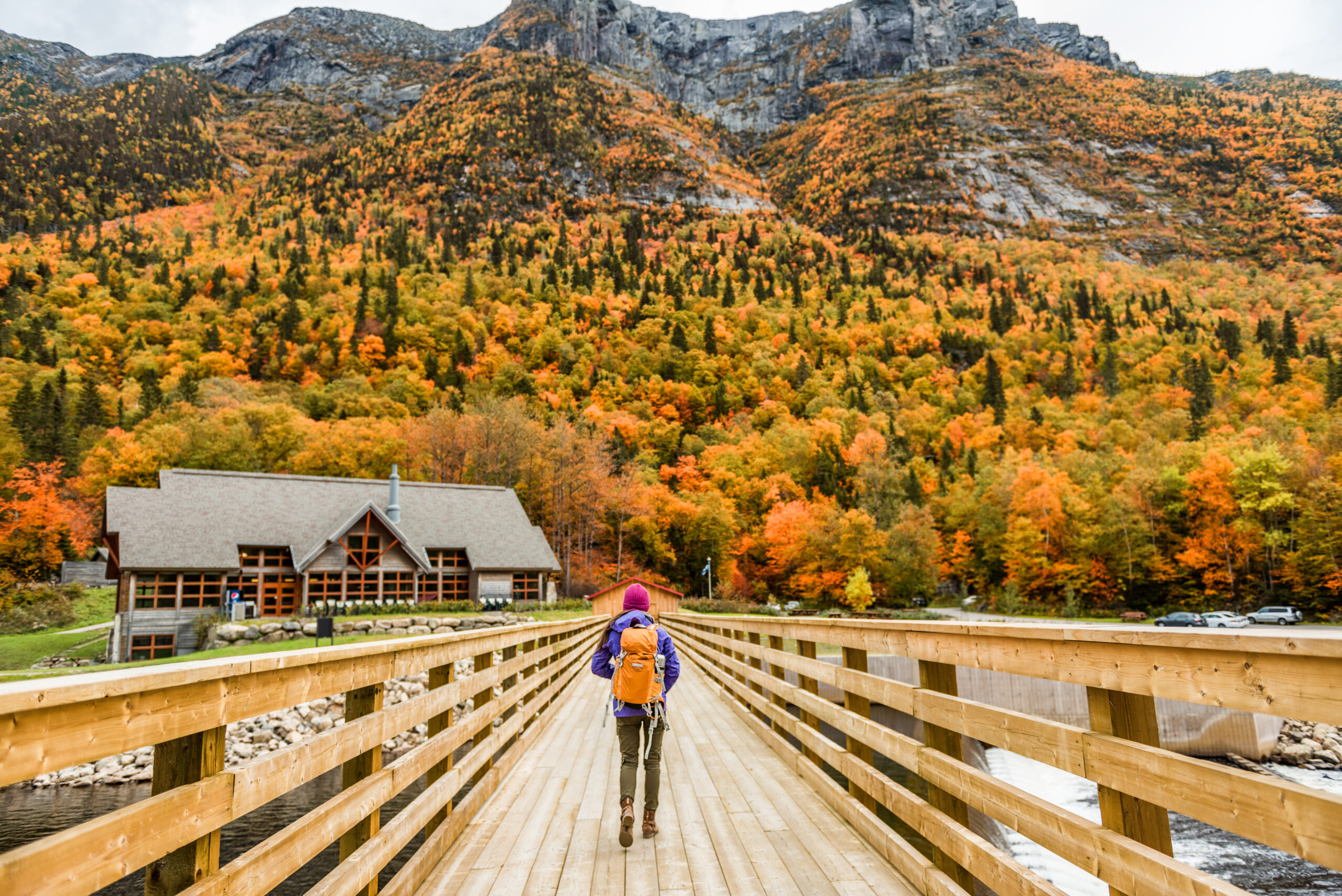 woman hiking during fall in Canada