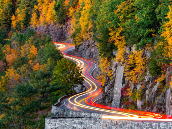 Hawks Nest has been featured in many car commericals - and you can see why! The colors of fall in New York make this road spell binding