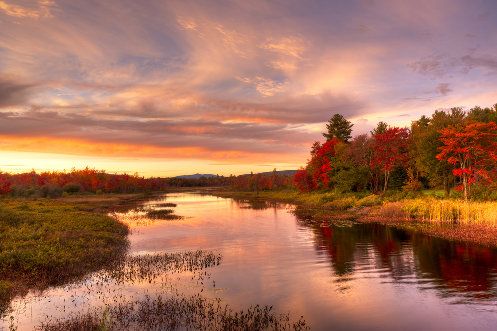 enjoy a beautiful sunset over lake pleasant during fall in new york
