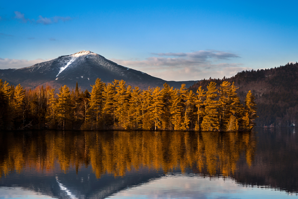 whiteface mountain provides beautiful reflections on the water