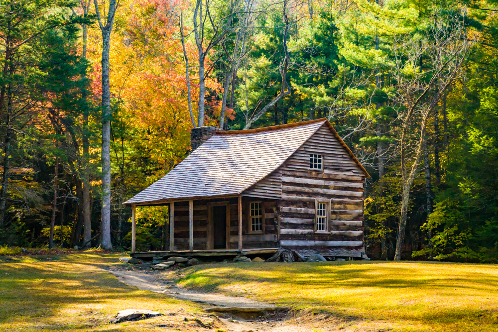 Cades cove's restored cabin in fall