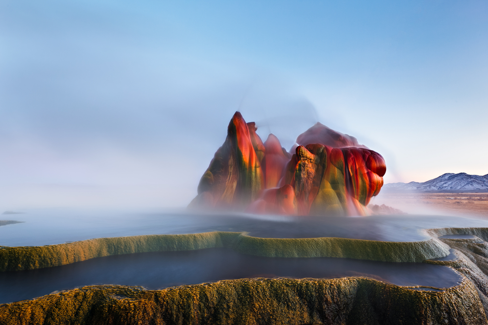 This hidden gem in the us is fly geyser, a colorful rock formation