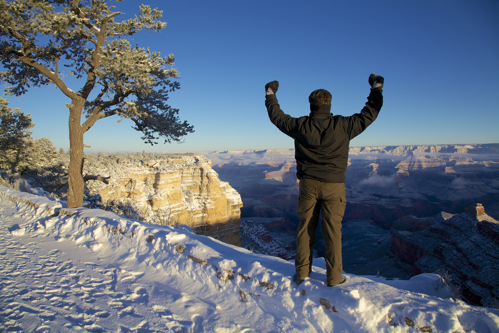 Man hiking in the Grand Canyon in Winter