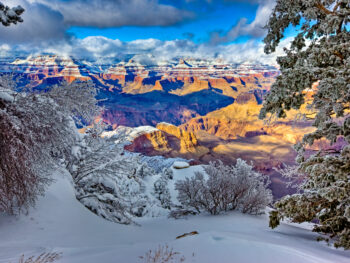 The Grand Canyon in winter covered in snow