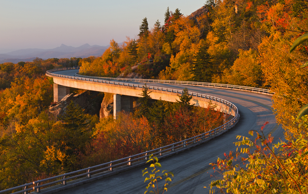 the Linn Cove Viaduct on the Blue Ridge Parkway on your North Carolina road trip