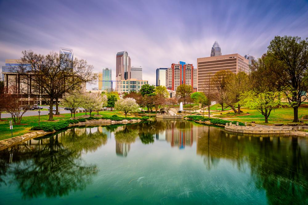 the Charlotte skyline on your North Carolina road trip