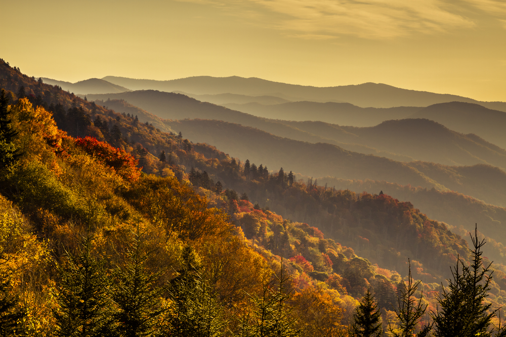 sunrise at Great Smoky Mountains National Park on your North Carolina road trip
