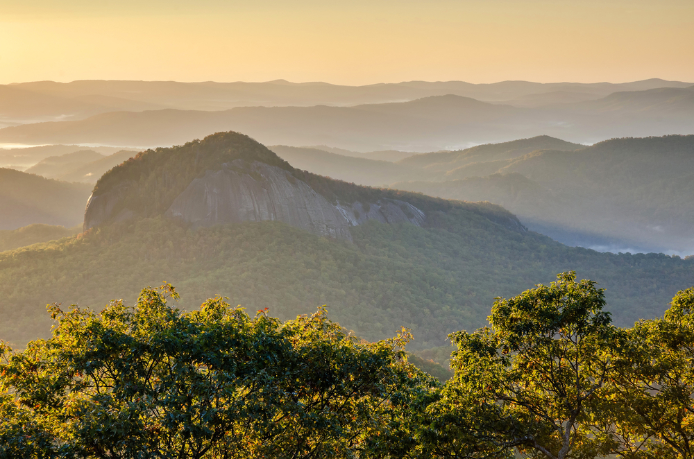 sunrise at Looking Glass Rock on your North Carolina road trip