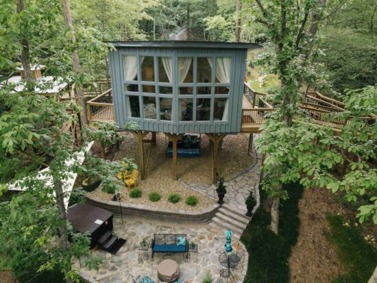 Photo of a luxury treehouse Airbnb.